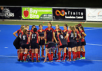 The Gisborne team huddles during the 2017 Furnware Cup girl's hockey match between Palmerston North Girls' High School and Gisborne Girls' High School  at Hawkes Bay Sports Park in Hastings, New Zealand on Thursday, 6 April 2017. Photo: Dave Lintott / lintottphoto.co.nz