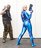 London Super Comic Con<br /> at Design Centre Islington, London, Great Britain <br /> 25th August 2017 <br /> <br /> Samus from Metroid <br /> Fried Fairly from Kent <br /> <br /> <br /> London Super Comic Con plays host to the latest comics, comic related memorabilia, superheroes and graphic novels fans have a chance to interact with their favourite creators, and  exhibitors showcasing items from comics to Cosplay, original art to toys.<br /> <br /> <br /> <br /> <br /> <br /> <br /> Photograph by Elliott Franks <br /> Image licensed to Elliott Franks Photography Services