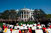 The Marine Band performs at the Arrival Ceremony hosted by the president and Mrs Bush for Pope Benedict XVI, in the South Lawn of the  White House, Washington DC, April 16, 2008.