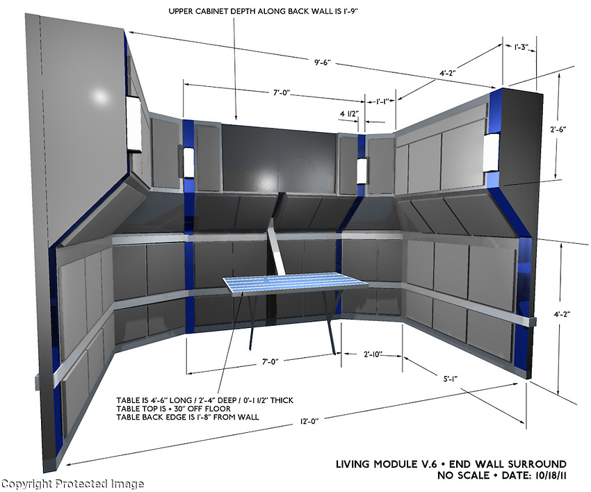 A render of a portion of the crew module with basic dimensions.