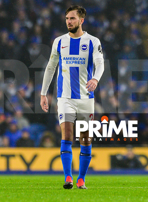 Davy Propper of Brighton & Hove Albion (24) during the Premier League match between Brighton and Hove Albion and Leicester City at the American Express Community Stadium, Brighton and Hove, England on 24 November 2018. Photo by Edward Thomas / PRiME Media Images.