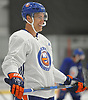 Anders Lee #27 of the New York Islanders laughs during team training camp at Northwell Health Ice Center in East Meadow on Friday, Sept. 15, 2017.