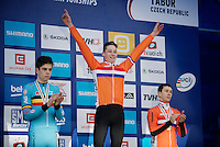 Victory for Mathieu Van der Poel (NLD)  <br /> <br /> Elite Men's race<br /> <br /> 2015 UCI World Championships Cyclocross <br /> Tabor, Czech Republic
