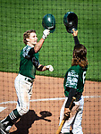 HARTFORD, CT-062520JS10—Great Falls Gators' Caleb Shpur is congratulated by teammate Willy Yahn (6) after hitting a solo home run in the fourth inning in their game against the Terryville Black Sox Thursday at Dunkin Donuts Park in Hartford. <br /> Jim Shannon Republican-American