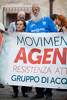 Vincenzo Agostino &amp; Augusta Schiera - Parents of Nino Agostino, Police officer killed by Cosa nostra mafia in 1989 along with his pregnant wife Ida Castelluccio.<br /> <br /> Palermo (Sicily - Italy), 17/07/2017. March of the Agende Rosse, from &quot;Casa di Paolo&quot; to the Faculty of Law at the University of Palermo, to mark the 25th Anniversary of Via D'Amelio bombing where an est. 100kg TNT bomb killed the anti-mafia Magistrate Paolo Borsellino. Also killed by the bomb were five members of Borsellino's police &quot;scorta&quot; (escorts from the special branch of the Italian police force who protect Judges). The police officers were: Agostino Catalano, Emanuela Loi (the first Italian female member of the police special branch and the first one to be killed on duty), Vincenzo Li Muli, Walter Eddie Cosina and Claudio Traina.<br /> <br /> For more info please click here: http://19luglio1992.com &amp; https://www.facebook.com/agenderosse/ &amp; https://en.wikipedia.org/wiki/Via_D%27Amelio_bombing (English Version) &amp; https://it.wikipedia.org/wiki/Strage_di_via_D%27Amelio (Italian Version)