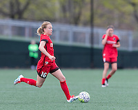 Allston, Massachusetts - May 1, 2016:  In a National Women's Soccer League (NWSL) match, Portland Thorns FC (red) defeated Boston Breakers (blue), 1-0, at Jordan Field.