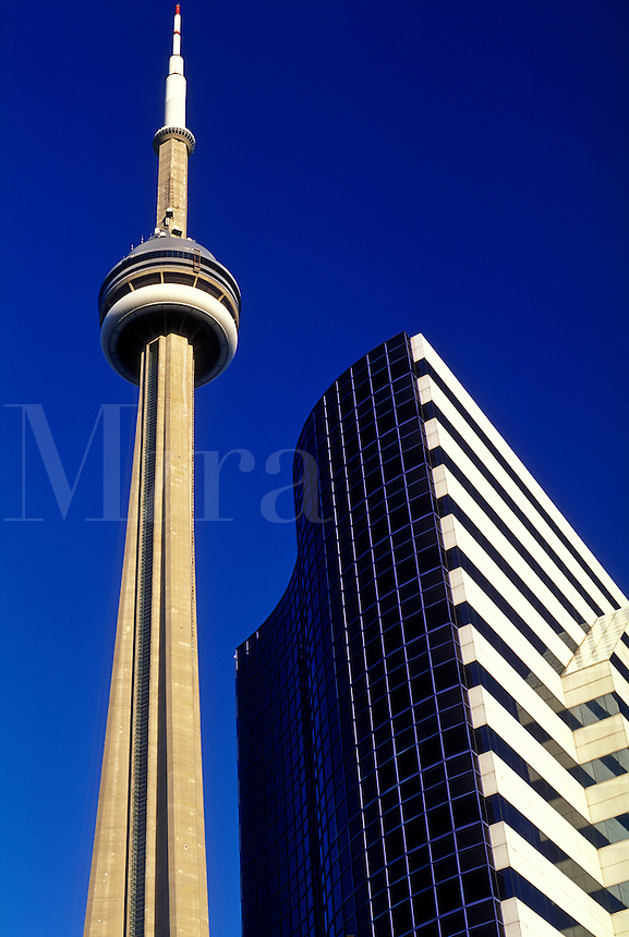Canada, Ontario, Toronto, CN Tower and office building