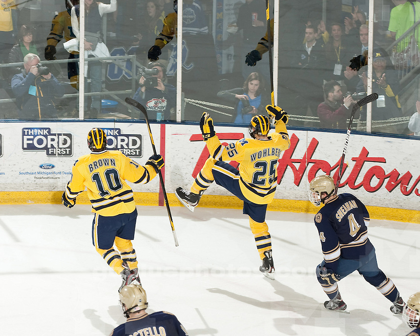 The University of Michigan men's ice hockey team defeated Notre Dame,3-1, to the CCHA quarterfinals at Yost Ice Arena in Ann Arbor, Mich., on March 10, 2012.