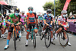 Masked Green jersey Sonny Colbrelli (ITA) Bahrain-McLaren, race leader Bryan Coquard (FRA) B&B Hotels-Vital Concept/KTM, mountains Fumiyuki Beppu (Jpn) Nippo Delko Provence and young riders jersey Michal Paluta (POL) CCC Team wait to start Stage 3 of the Route d'Occitanie 2020, running 163.5km from Saint-Gaudens to Col de Beyrède, France. 3rd August 2020. <br /> Picture: Colin Flockton | Cyclefile<br /> <br /> All photos usage must carry mandatory copyright credit (© Cyclefile | Colin Flockton)
