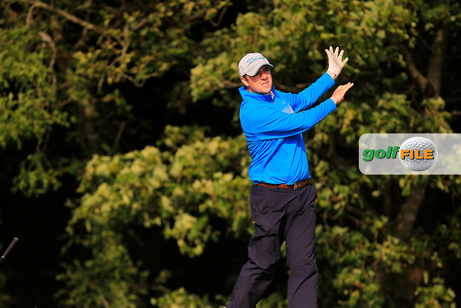Niall Gorey (Palmerston Stud) on the 14th tee during Round 1 of the Irish Mid-Amateur Open Championship at New Forest on Saturday 20th June 2015.<br /> Picture:  Thos Caffrey / www.golffile.ie