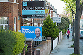 Conservative Party election poster on a house in Hampstead and Kilburn, the second most marginal constituency in the UK, held by Labour with a majority of 42 at the 2010 general election.