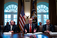U.S. President Donald Trump speaks beside David Bernhardt, acting U.S. secretary of interior, left, and Patrick Shanahan, acting U.S. secretary of defense, during a cabinet meeting in the Cabinet Room of the White House, on Wednesday, Jan. 2, 2019 in Washington, D.C. Photo Credit: Al Drago/CNP/AdMedia