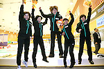 (L to R) Ayumi Ogasawara, Yumie Funayama,Kaho Onodera, Chinami Yoshida, Michiko Shibechi (Fortius), SEPTEMBER 17, 2013 - Curling : Olympic qualifying Japan Curling Championships Women's Final forth Mach between Fortius 8-5 Chuden at Dogin Curling Studium, Sapporo, Hokkaido, Japan. (Photo by Yusuke Nakanishi/AFLO SPORT)