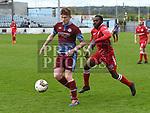 Drogheda United Sean Cronin, Shelbourne Mick Zingo. Photo:Colin Bell/pressphotos.ie