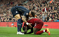 Manchester City's Kyle Walker helps Liverpool's Sadio Mane up after a hard challenge late in the game<br /> <br /> Photographer Rich Linley/CameraSport<br /> <br /> The Premier League - Liverpool v Manchester City - Sunday 7th October 2018 - Anfield - Liverpool<br /> <br /> World Copyright &copy; 2018 CameraSport. All rights reserved. 43 Linden Ave. Countesthorpe. Leicester. England. LE8 5PG - Tel: +44 (0) 116 277 4147 - admin@camerasport.com - www.camerasport.com