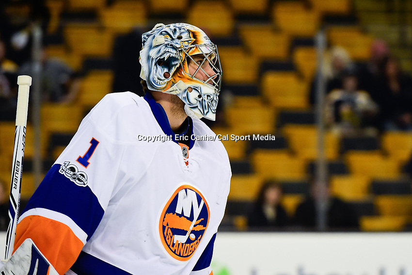 Monday, January 16, 2017: New York Islanders goalie Thomas Greiss (1) warms up before the National Hockey League game between the New York Islanders and the Boston Bruins held at TD Garden, in Boston, Mass. New York defeats Boston 4-0.  Eric Canha/CSM