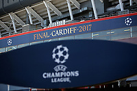 Pictured: The National Stadium of Wales (aka Principality Stadium) Thursday 25 May 2017<br />Re: Preparations for the UEFA Champions League final, between Real Madrid and Juventus in Cardiff, Wales, UK.