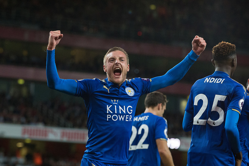 Leicester City's Jamie Vardy celebrates scoring his sides third goal <br /> <br /> Photographer Craig Mercer/CameraSport<br /> <br /> The Premier League - Arsenal v Leicester City - Friday 11th August 2017 - Emirates Stadium - London<br /> <br /> World Copyright &copy; 2017 CameraSport. All rights reserved. 43 Linden Ave. Countesthorpe. Leicester. England. LE8 5PG - Tel: +44 (0) 116 277 4147 - admin@camerasport.com - www.camerasport.com