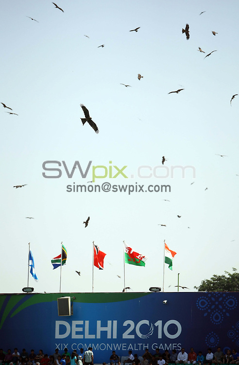 PICTURE BY VAUGHN RIDLEY/SWPIX.COM - Hockey - XIX Commonwealth Games - Women's Semi-Finals, England v Australia, Major Dhyan Chand National Stadium, New Dehli, India - 11/10/10...Copyright - Simon Wilkinson - 07811267706...Birds circle above the stadium throughout the match.