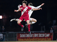 COLLEGE PARK, MD - NOVEMBER 15: Eric Matzelevich #15 of Maryland and Daniel Munie #5 of Indiana go up for a header during a game between Indiana University and University of Maryland at Ludwig Field on November 15, 2019 in College Park, Maryland.