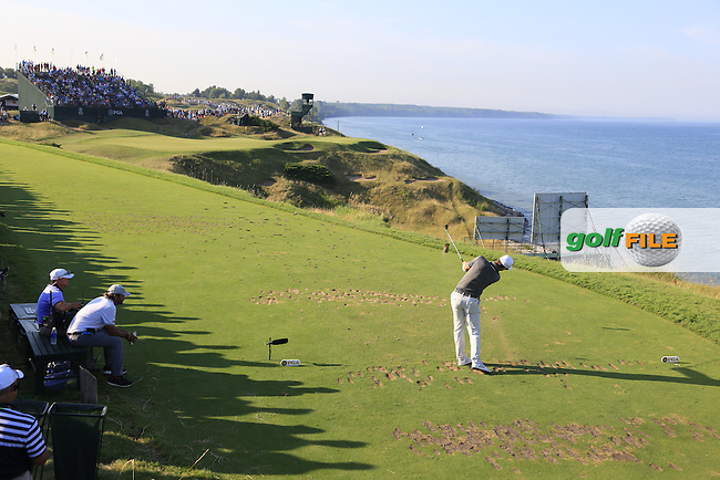 Justin Rose (ENG) tees off the par3 12th tee during Saturday's Round 3 of the 97th US PGA Championship 2015 held at Whistling Straits, Mosel, Kohler, Wisconsin, United States of America. 15/08/2015.<br /> Picture Eoin Clarke, www.golffile.ie