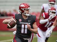 Hawgs Illustrated/BEN GOFF <br /> Daulton Hyatt, Arkansas quarterback, looks for a receiver in the fourth quarter Saturday, April 6, 2019, during the Arkansas Red-White game at Reynolds Razorback Stadium.