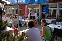 Liechtenstein  Malbun  June 2008.Small town high in the Alpine (southeastern)..Alpenhotel .The waitress  of the restaurant..