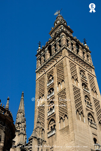 The Giralda Tower, Seville Cathedral, Andalusia, Spain (Licence this image exclusively with Getty: http://www.gettyimages.com/detail/85071283 )