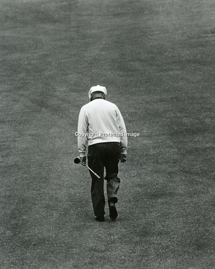 Ben Hogan walks up the fairway at the Olympic Club in San Francisco during the 1966 U.S. Open golf tournament.(photo copyright 1966 Ron Riesterer)