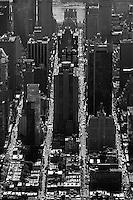 aerial photograph streets skyscrapers Manhattan, New York City