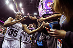 COLUMBUS, OH - MARCH 30: Victoria Vivians #35 of the Mississippi State Bulldogs celebrates with fans after beating Louisville in a semifinal game of the 2018 NCAA Division I Women's Basketball Final Four at Nationwide Arena in Columbus, Ohio. (Photo by Justin Tafoya/NCAA Photos via Getty Images)