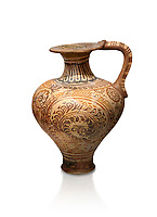 The Minoan decorated jug with elaborate design, Palaikastro,  1500-1450 BC; Heraklion Archaeological  Museum, white background