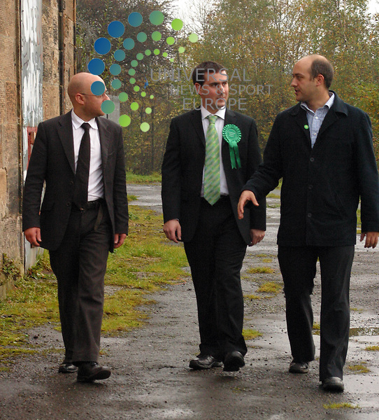 David Doherty, the Scottish Green Party's candidate, officially launches his campaign for the Glasgow North-East. He is pictured looking around a old stables and surrounding fields on the outskirts of the constituency - where the party plans to grow it own veg - with Patrick Harvie MSP and Councior Kieran Wild.Picture 21 October 2009: William Kemmett/Universal News and Sport (Scotland)..All pictures must be credited to  www.universalnewsandsport.com.(0ffice) 0844 884 51 22.