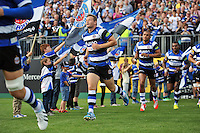Chris Cook, making his first Premiership start of his career, runs out onto the field. Aviva Premiership match, between Bath Rugby and London Welsh on September 13, 2014 at the Recreation Ground in Bath, England. Photo by: Patrick Khachfe / Onside Images