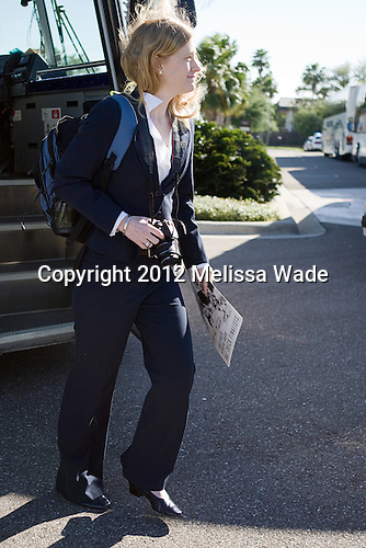 Laura Reed (Maine) - The members of the Hobey Hat Trick take a bus to MacDill Air Force Base from Channelside Bay Plaza for the award ceremony on Friday, April 6, 2012, in Tampa, Florida.