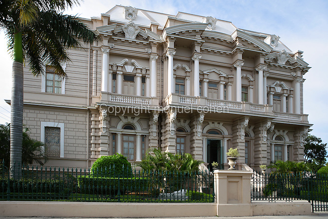 General view of the Palacio Canton, 1900s, Merida, Yucatan, Mexico, pictured on July 18, 2006, in the evening. The Palacio Canton was designed by Italian architect Enrico Deserti, directed by Manuel G. Canton Ramos, as the residence of General Francisco Canton, ex-governor of Yucatan. It was the first building in Merida to use elements such as ironwork and marble and is now a museum housing an important collection of Pre-Colombian Mayan objects. Merida is the state capital of Yucatan. Picture by Manuel Cohen.