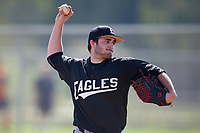 Edgewood Eagles pitcher Bryce Lashley (31) during the first game of a doubleheader against the Plymouth State Panthers on April 17, 2016 at Lee County Player Development Complex in Fort Myers, Florida.  Plymouth State defeated Edgewood 6-5.  (Mike Janes/Four Seam Images)
