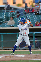 Melvin Mercedes (3) of the Stockton Ports bats against the Lancaster JetHawks at The Hanger on May 26, 2016 in Lancaster, California. Stockton defeated Lancaster, 16-7. (Larry Goren/Four Seam Images)