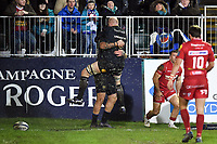 Matt Banahan of Bath Rugby celebrates his second half try with team-mate Matt Garvey. European Rugby Champions Cup match, between Bath Rugby and the Scarlets on January 12, 2018 at the Recreation Ground in Bath, England. Photo by: Patrick Khachfe / Onside Images