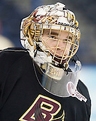Brian Billett (BC - 1) - The Boston College Eagles practiced on Wednesday, April 4, 2012, during the 2012 Frozen Four at the Tampa Bay Times Forum in Tampa, Florida.