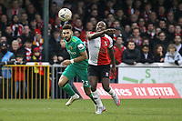 Marc Zeegelaar of Watford and Jamar Loza of Woking during Woking vs Watford, Emirates FA Cup Football at The Laithwaite Community Stadium on 6th January 2019
