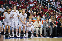 LOS ANGELES, CA - March 10, 2012: Cheering Stanford University woman's basketball team competes against Cal during the PAC 12 Woman's Basketball Championship Game at the Staples Center in Los Angeles California. Final score Stanford won 77-62.