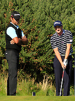 Jyoti Randhawa (IND) and Paul Dunne (IRL) on the 12th tee during Round 1 of the 2015 Alfred Dunhill Links Championship at Kingsbarns in Scotland on 1/10/15.<br /> Picture: Thos Caffrey | Golffile
