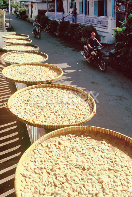 Kenari nuts drying along one of Banda's quaint colonial streets.