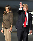 United States President Donald J. Trump waves the the crowd as he and first lady Melania Trump depart following his delivering remarks to military personnel and families in a hanger at Joint Base Andrews in Maryland on Friday, September 15, 2017.  He visited JBA to commemorate the 70th anniversary of the US Air Force.<br /> Credit: Ron Sachs / CNP