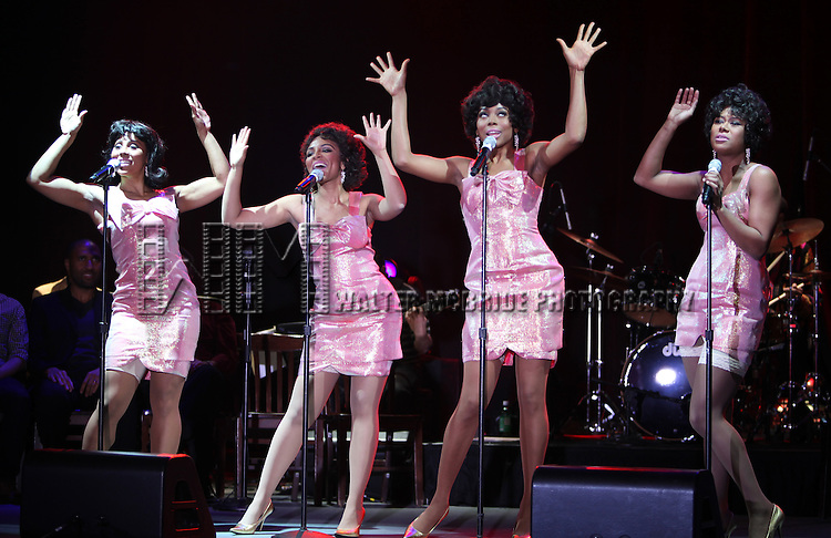 The Shirelles played by Kyra Da Costa, Crystal Starr Knighton, Erica Ash & Christina Sajous.performing a Sneek Peek of the New Broadway Musical  'Baby It's You' at the Hard Rock Cafe in New York City.