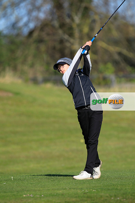 Lily Hurlimann  (GER) on the 1st tee during Round 3 of the Irish Girl's Open Stroke Play Championship at Roganstown Golf &amp; Country Club on Sunday 17th April 2016.<br /> Picture:  Thos Caffrey / www.golffile.ie