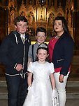 Chris Kierans from St Oliver's school who received his first holy communion at St Peters chuch pictured with brothers Aaron and Ged and sister Nicole. Photo:Colin Bell/pressphotos.ie