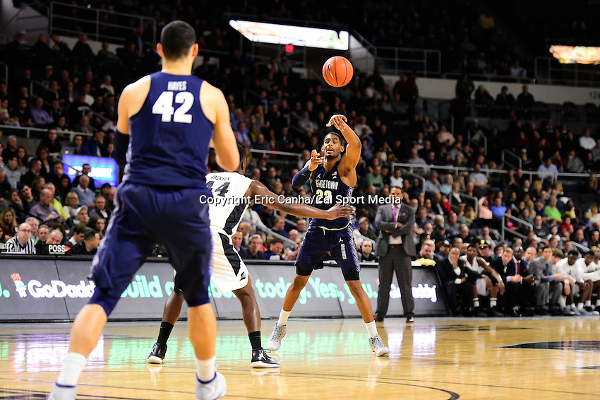Wednesday, January 4, 2016: Georgetown Hoyas guard Rodney Pryor (23) passes to center Bradley Hayes (42) during the NCAA basketball game between the Georgetown Hoyas and the Providence Friars held at the Dunkin Donuts Center, in Providence, Rhode Island. Providence defeats Georgetown 76-70 in regulation time. Eric Canha/CSM