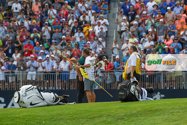 Brooks Koepka (USA) celebrates on 18 after winning the 100th PGA Championship at Bellerive Country Club, St. Louis, Missouri. 8/12/2018.<br /> Picture: Golffile | Ken Murray<br /> <br /> All photo usage must carry mandatory copyright credit (© Golffile | Ken Murray)